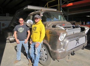 "Jeremie Rosencranz of Wisconsin and Braxton Reynolds of Hugoton show their finished truck ""King Earl"" after returning from the  International Radical Rod Build off show at Las Vegas. Story found on page 5 of this week's Hermes."