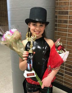 Morgan Niehues places first in the Tiny Tot International  Pancake Day Talent Show. Niehues is a student of Sydney Beesley. Photo courtesy of Renee Beesley.