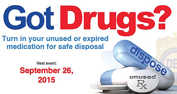 Unused or expired drugs can be dropped off September 26 from 10:00 a.m. to 2:00 p.m. at 505 S. Monroe in Hugoton.