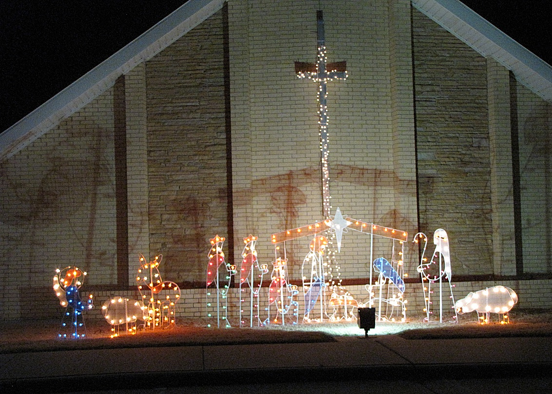 Bethel Friends Church shows their Christmas spirit with a truly captivating lighted nativity scene. Make sure to check out the church  building at 1040 S. Jefferson and all the other festive lights around town during this holiday season.