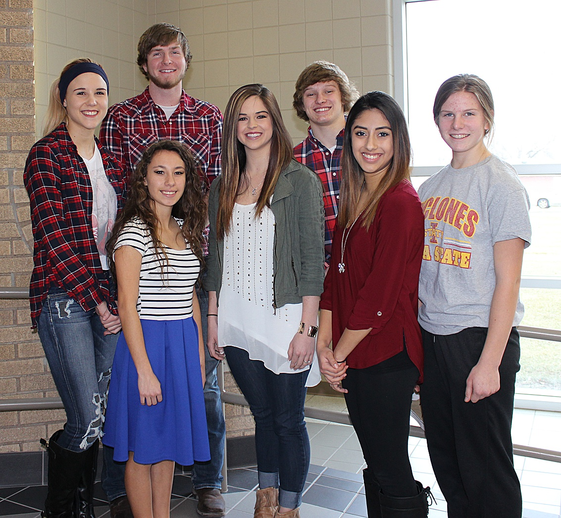 The 2016 Winter Homecoming Court, left to right, includes Brooklyn Harper, Caleb Gayer, Marianna Shuck, Keely Hittle, Hunter Kerbow, Marisol Don Juan and Rebecca Johnson. Not pictured are Brandi Holmes and Reed Rome.