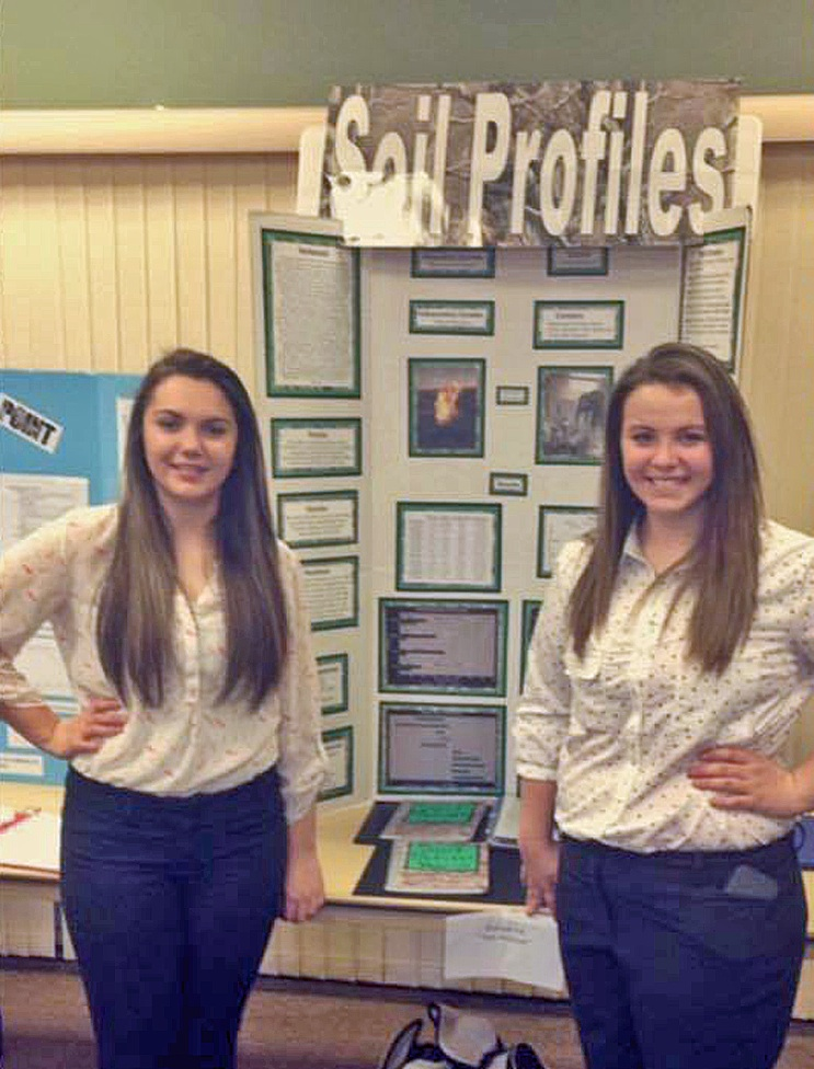 Paige Claassen and Deserae Schwindt are ready for the International Science Fair in May at Phoenix, Az.