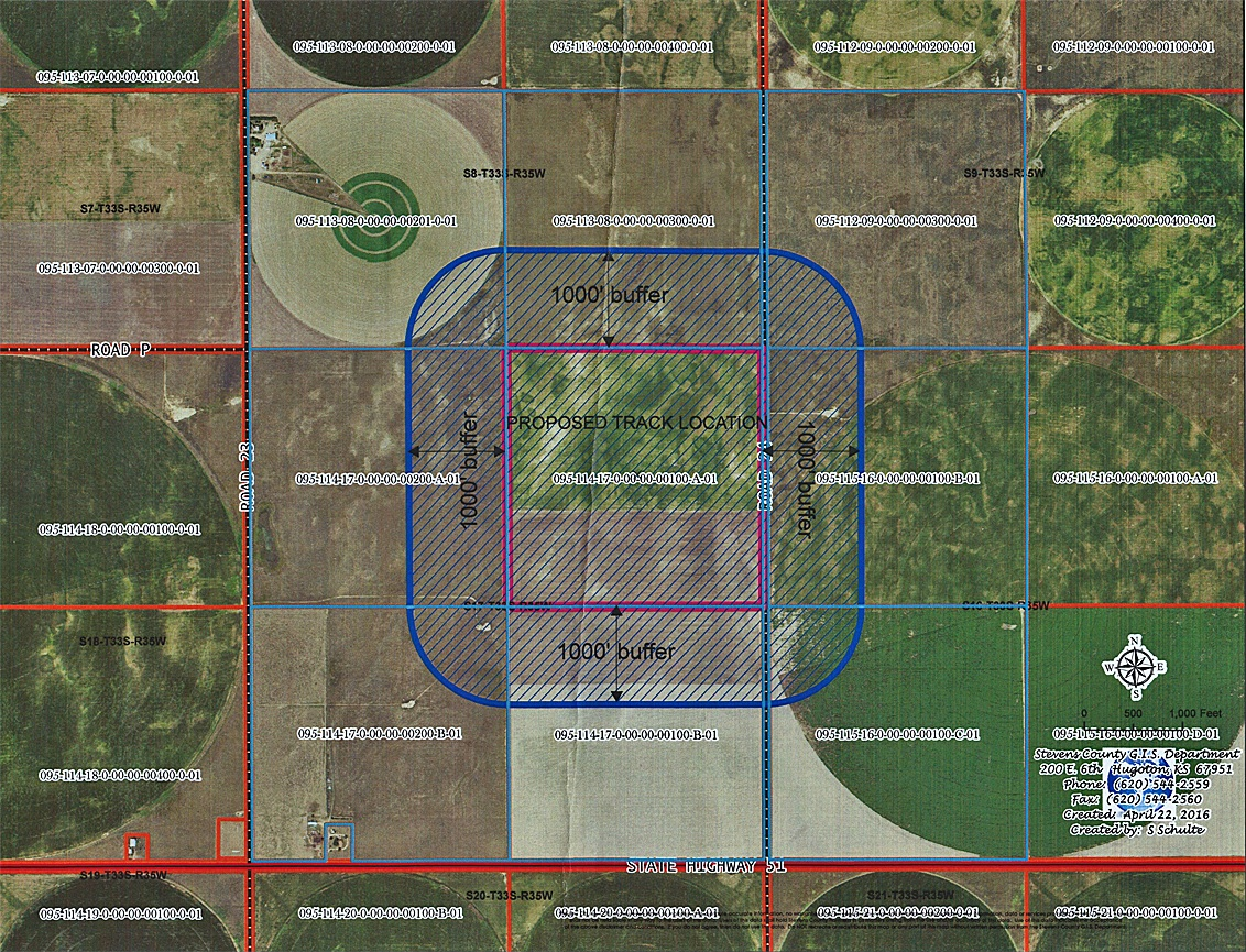 Above is a map depicting the proposed  location of the horse track by Alfredo Don Juan. Commissioners gave Mr. Don Juan some advice at Monday's meeting.