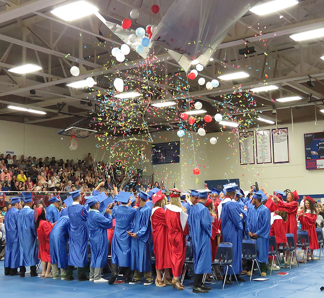 Hugoton High School's Class of 2016 takes a moment to bask in the confetti and balloons  celebrating their accomplishments over the past four years during their high school careers. Many students will now enroll in college, enter the work force or join the military. Great job seniors! The community is proud of you!