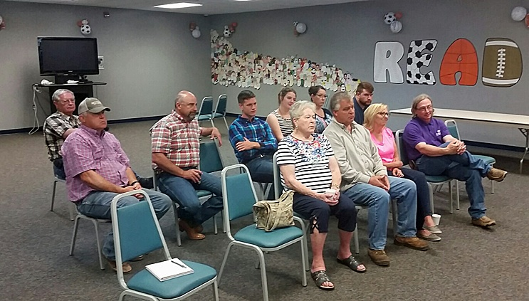 Several community members attend the Commissioner Coffee the morning of Saturday, June 11 to talk with Stevens County Commissioner Joe D. Thompson of Moscow. The meeting at the Stevens County Library focused primarily on budget issues facing the county.