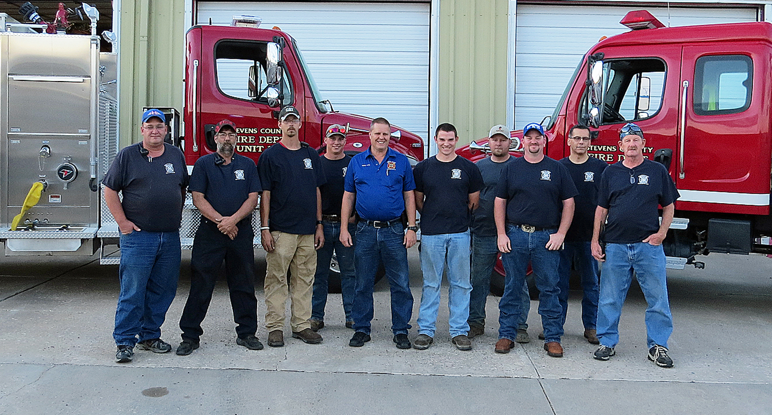 The Stevens County Fire Department Volunteers from Hugoton and Moscow are left to right, Phil Gooch, Melvan Vaughn, Michael Heston, Garrot Kilbourne, Chief Rodney Kelling, Bailey Esarey, Rickey Burrows, Kyle Lewis, Ed Stevenson and Randall Maxwell.  Make sure to show your appreciation this week in honor of Fire Prevention Week October 9-15.