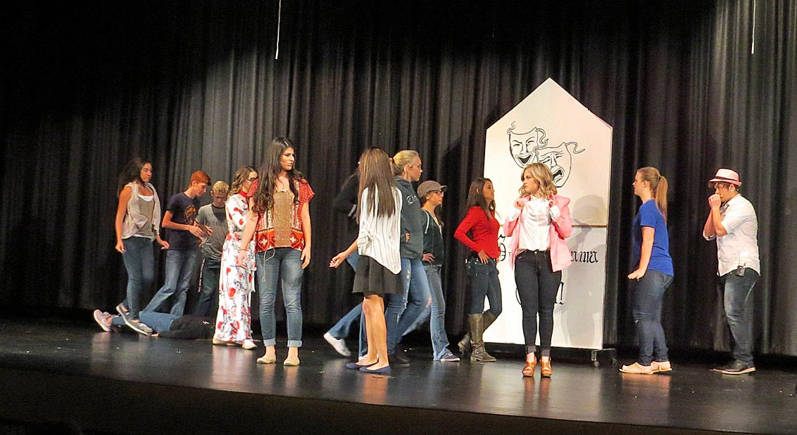 "Hugoton High School students dance and sing onstage as they prepare for this weekend's ""High School Musical"" performances. You can see the show Saturday at 7:00 p.m. and Sunday at 3:00 p.m. Both performances will take place in the HHS auditorium."