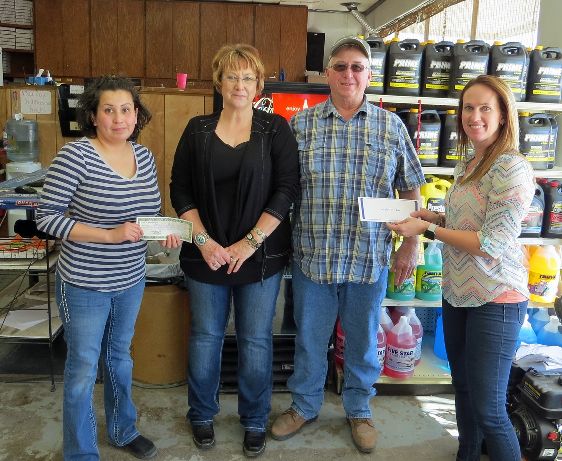Judith Mendoza, manager at Bultman, Inc. congratulates 2017 Sweetheart Sweepstakes couple Anita and Steve Munson after their selection Wednesday, February 15. Hugoton Area Chamber of Commerce director Alisha Owens also hands the lucky couple their $50 Chamber Bucks gift certificate. Congratulations Steve and Anita, enjoy your winnings and each other!