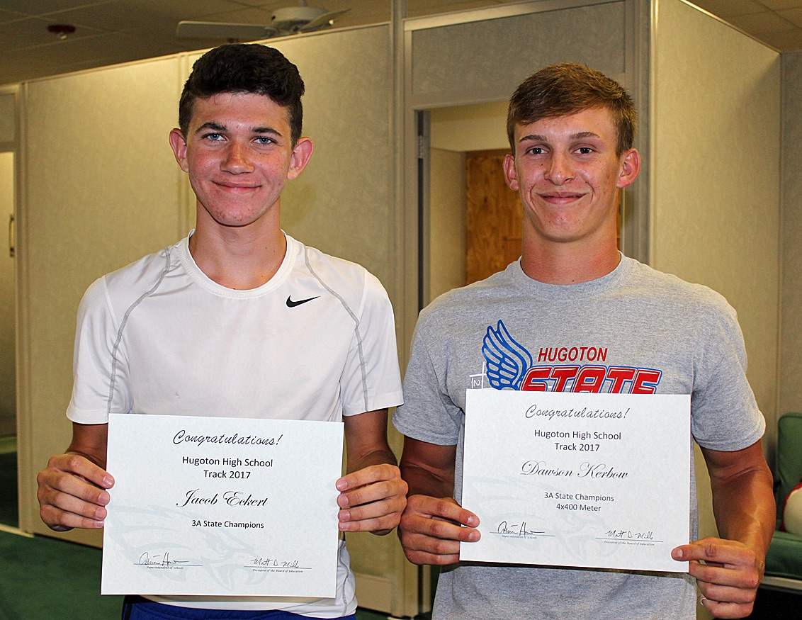 Jacob Eckert and Dawson Kerbow accept certificates of recognition after they, along with their teammates, brought home a Track and Field State Championship last month. Other members of the team who competed at State include Mitchell Hamlin, Bradan Slemp, Ivan Villa, Pedro Ordonez, Ethan Fox, Jahaziel Garcia, Carlos Tinoco, Jalen Rosales, Abraham Garcia, Eric Perry and Miguel Martinez. HHS head track coach is Nick Rodriguez.