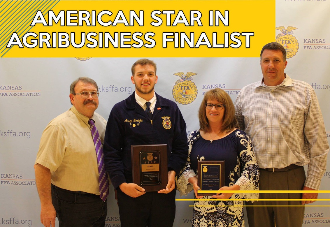 Congratulations to Hugoton FFA Chapter  member Austin Nordyke, for being selected as one of four finalists for the American Star in Agribusiness! Austin is pictured here with HHS FFA sponsor Les McNally and his parents  Shannon and Paul Nordyke. Austin will go through a panel of interviews during the  Ninetieth National FFA Convention this October. Best of luck Austin! Photo courtesy of Kansas  FFA Association Facebook page.