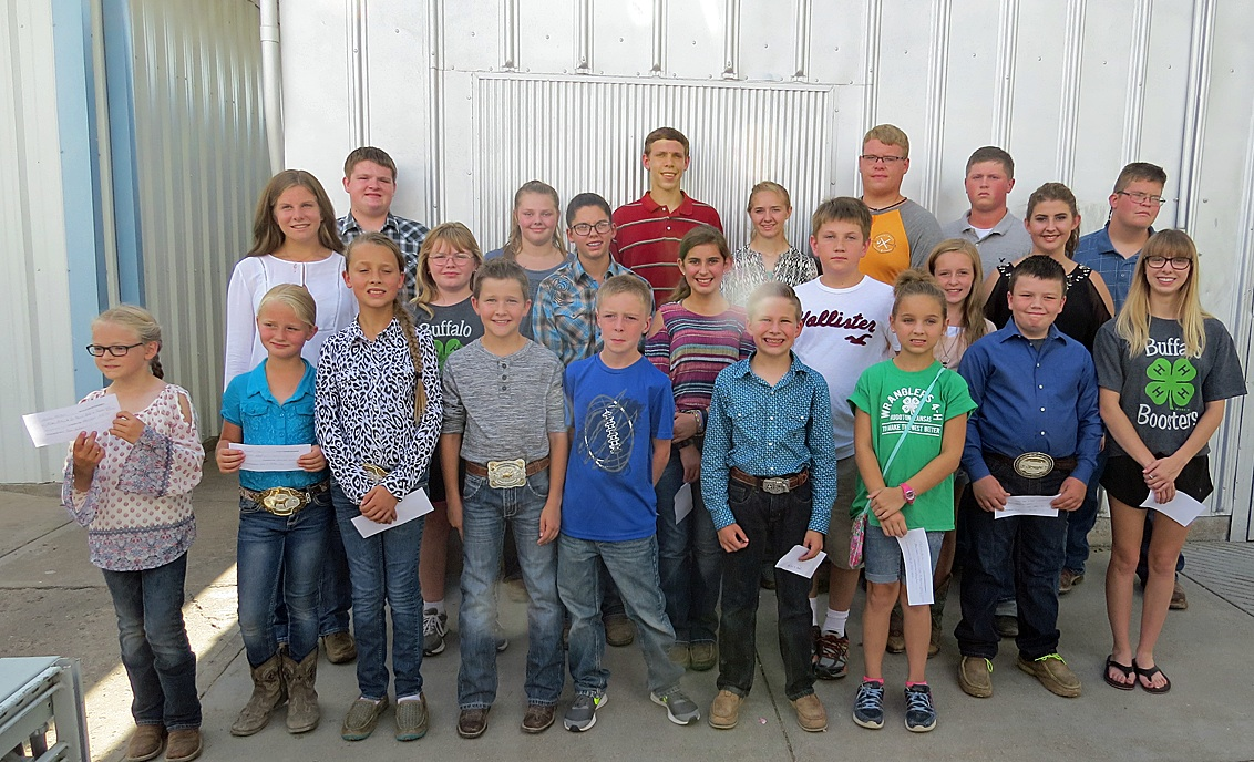 A great group of kids makes up this year's  Parade of Champions at the Fair Friday night. In the front row, left to right, are Lindy McClure, Hannah Cox, Lainey Cox, Tobias Grubbs, Joshua Burrows, Clayton Grubbs, Madison Kurts, Eli Penrod and Maggie White.  In the middle row are Rebecca Johnson, Elisha Staggers, Grace Dillinger, Faith Beesley, Stormy Heger, Jayden Burrows and Sydney Beesley.  In the back row are Jacob Bell, Catie Gooch, Allen Shelton, Megan Newlon, Raegan Hinds, Nick Gold and Laramie Brecheisen.