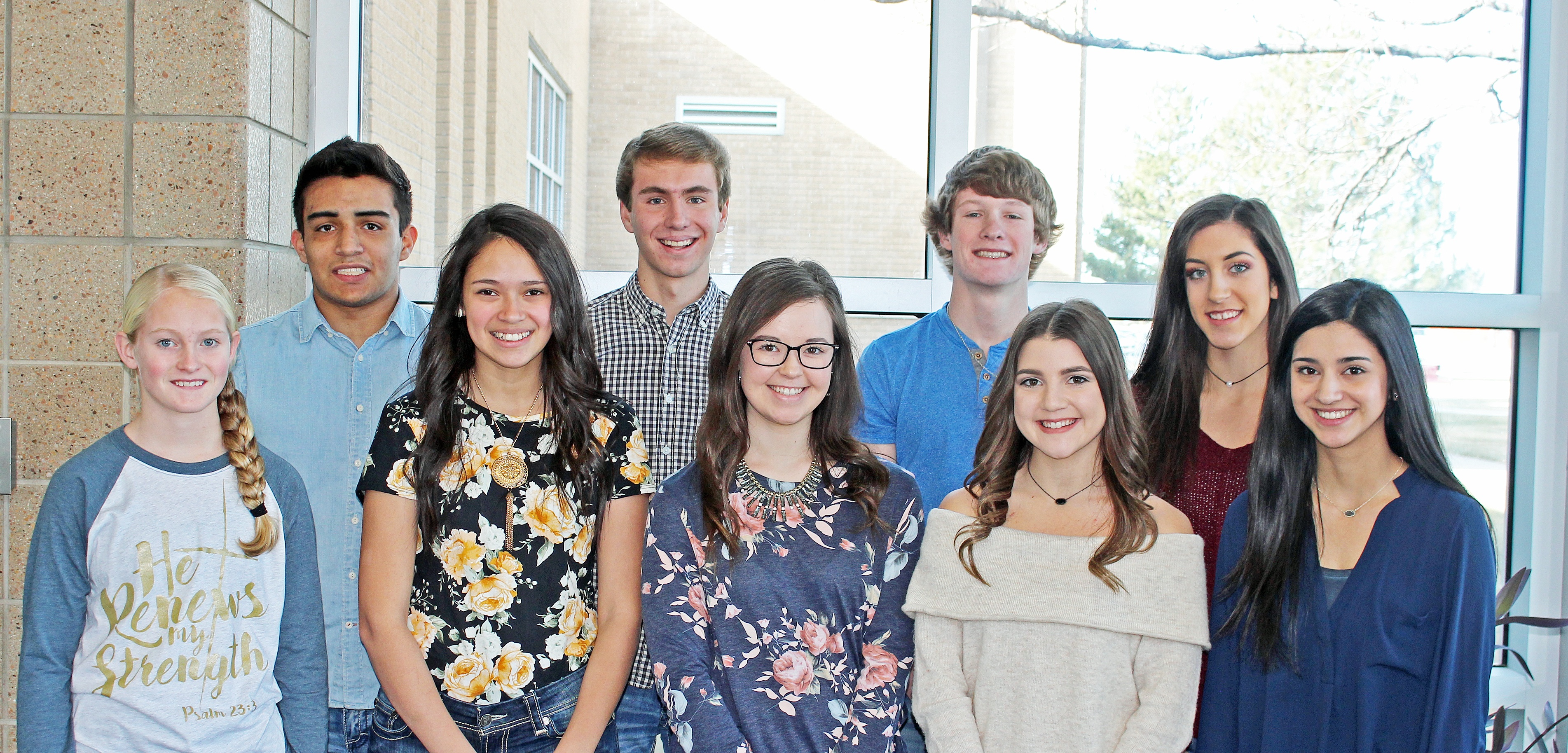 The 2018 HHS Winter Homecoming Court includes, back row left to right, senior King candidates Manny Mendoza, Eric Perry and Dawson Burnett and senior Queen candidate Jayden Korf. In the front row are freshman attendant Molly McClure, sophomore  attendant Johanna Bojorquez, junior attendant Hannah Archuleta and senior Queen candidates Skyelynn Muñoz and Abigail Marioni. The Homecoming King will be crowned during the Pep Rally Wednesday afternoon, January 31 in the West Gym. The Homecoming Queen will be crowned Friday evening,  February 2 at halftime of the varsity boys' game. There will also be a semi-formal dance Saturday, February 3 from 8:30 to 11:30 p.m. in the high school cafeteria.